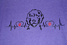 Golden Doodle Hey Dood Heartbeat with Red Paws Heather Purple Tshirt - Medium