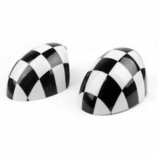 2 x Checkered WING Mirror Covers Fits MINI Cooper R55 R56 R57 Power Fold Mirror