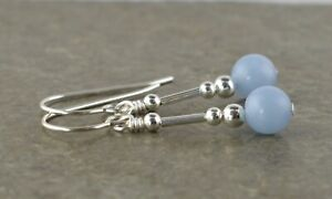 Small Pale Blue Angelite Gemstone & Sterling Silver Drop Earrings with Gift Box