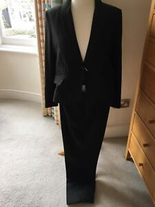 Jaeger Ladies Two Piece Herringbone Trouser Suit UK Size 18