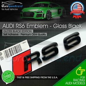 Audi RS6 Gloss Black Emblem 3D Badge Rear Trunk Tailgate for Audi RS6 S6 Logo A6