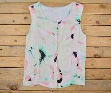 Women's Pink Mint Beige Print Sleeveless Pleated T-shirt Top Blouse Size 8