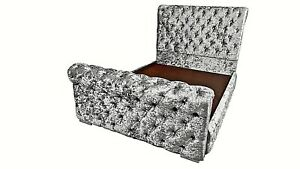 4ft6 Double Scroll Sleigh Crushed Velvet Deep Chesterfield Bed - SALE NOW ON!