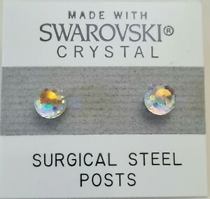 Silver AB Clear Round Ball Stud Earrings 5mm Crystal Made with Swarovski Element