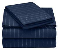 Pinzon 160 Gram Pinstripe Flannel Sheet Set - Twin XL, Navy Pinstripe