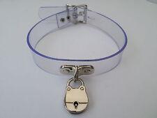 "lockable clear pvc fetish bondage slave collar 15-18"" chrome padlock"