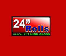 """24""""x10ft Roll Oracal 751 CAST Gloss RED High Performance adhesive backed VINYL"""