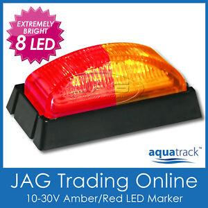 10V-30V 8-LED AMBER/RED SIDE MARKER LIGHT/CLEARANCE LAMP - Trailer/Truck/RV BL