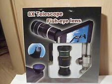 New 8X Telescope Lens & Fish-eye Lens Set with Tripod & more for iPhone 3G or 4
