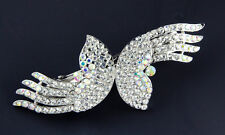 NEW LARGE CLEAR BRIDAL CRYSTALS BEJEWELED FASHION HAIR BARRETTE CLIP