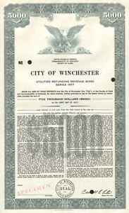 City of Winchester > Clark County Kentucky $5,000 specimen bond certificate