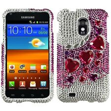 Stylish Heart Crystal Diamond BLING Hard Case Phone Cover Samsung Epic 4G Touch