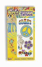 Hippie Fake Tattoo Set Temporary Water Tat Peace Sign Hippy Smilie Flower Power