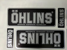 4x Ohlins Black & Silver Decals Stickers Suspension Bike Shock, motorcycle STUNT