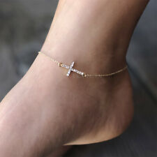 Celebrity Religious Gold Tone Anklet ~Sideways Cross made with Swarovski Crystal