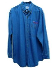 New Mens Blue Heavy Denim Us Post Office Long Sleeve Shirt Medium