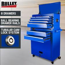 Blue 8 Drawer Tool Box Cabinet with Castors Storage Toolbox Garage Organiser