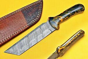 Custom Hand Made Damascus Blade Hunting Knife C-5881 Orange-Black Dollar Sheath