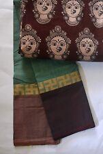 South Cotton pure handloom saree Green with Ganga Jamuna Swastik border