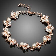 18K Gold GP Made With Swarovski Crystal Elements Flower Leaf Bangle Bracelet