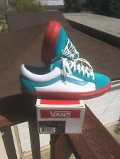 2007 Supreme x Vans Old Skool HALFTONE Teal/White/Red Polka Dot Size 10.5