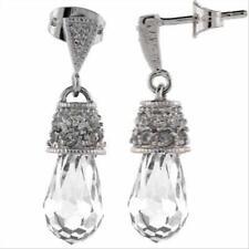 925 Silver CZ Briolette Raindrop Earrings