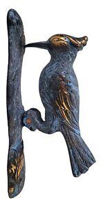 Solid Brass WOODPECKER DOOR KNOCKER Blue Patina Bird on Branch Gold Decorative