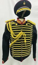Men's Military Army Gold Hussar Officers Jacket With Aiguillett &Cap Chest L, XL