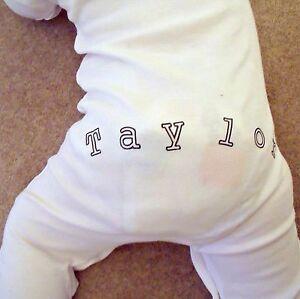 Funky PERSONALISED on FRONT & BACK babygrow sleepsuit unisex baby clothing
