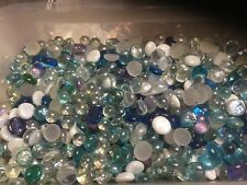 Lot of 100 Mixed GLASS GEMS MOSAIC PEBBLES, FLAT / ROUND  MARBLES, VASE FILLERS
