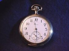 ELGIN 10 SIZE OPEN FACE 17 JEWEL POCKET WATCH IN GOOD RUNNING CONDITION!  #506AR