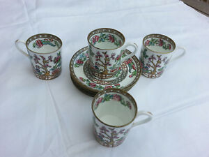 "4 Antique Coalport ""Indian Tree"" Coffee Demitasse Cups & Saucers (c1881-1920)"