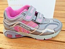 Sneakers Geox Asari Grey and Pink Leather Girls NON-Tie Little Girls Size 9