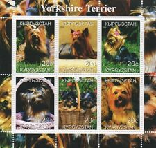 YORKSHIRE TERRIER DOG ANIMAL AND PUPPIES KYRGYZSTAN 2000 MNH STAMP SHEETLET