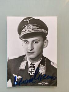 WW2 Luftwaffe Ace & Knights Cross Winner Gerhard Krems KG27 Signed 12x8cm Photo