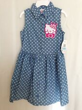 Hello Kitty Girls' Sleeveless Blue/White Dot Buttoned Shirt Dress -5T New