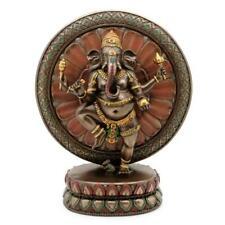 "Ganesha with Lotus Statue 9"" Hindu Elephant God Bronze Resin Ganesh HIGH QUALITY"