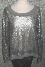 120/8 Patrizia Pepe Shirt Sequins Grey Beige Mud gr. 1 S 36 Long Sleeve