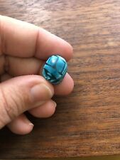 Small Vintage Antique Egyptian Carved Faience Scarab blue Beetle Focal Bead