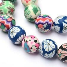 Polymer Clay Round Beads 12mm Mixed 30+ Pcs Art Hobby Jewellery Making Crafts