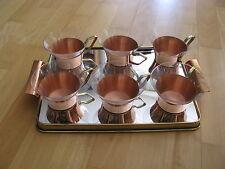 Messing Spiegel Tablet mit 6 Teetassen aus Kupfer und Glas 60er 70er Teeservice