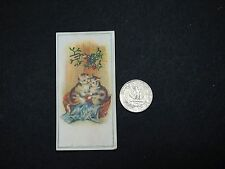 Victorian Christmas Trade Card, Anthropomorphic Cats Kissing Under Mistletoe A1