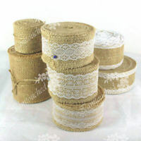 5M Hessian Burlap Ribbon Lace Trims Edge Natural Jute Tape Wedding Party Supply