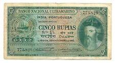 India Portuguesa Banco Nacional Ultramarino 5 Rupias 1945 F/VF #35 Albuquerque