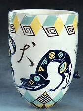 Mariko Swisher contemporary artist sculptural white earthen vase with foxes