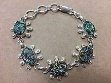 """NEW 925 Sterling Silver w. Dust Dusty Bangle Bracelet 7""""  - 8"""""""