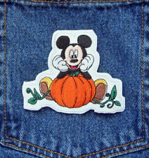 Mickey Mouse Disney PUMPKIN Head In Hands HALLOWEEN Iron On Sew On Patch