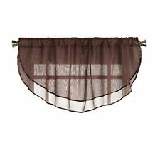 Brown Sheer Voile Valance WIndow Curtain: 54 in X 24 in Scalloped Ribbon  Edge