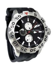 Nautica BFD Men's Large Watch Black Strap Red White Accents Steel Bezel N15564G