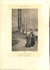 Au bord de la rivière jeune promeneuses et bambin par Henry Lerolle GRAVURE 1902
